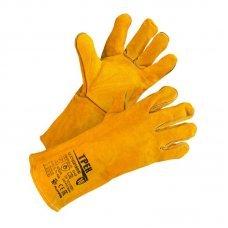Краги спилковые  желтые с подкладом по цене 340₽